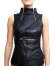 cathias edeline cropped leather top